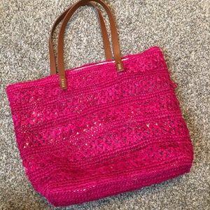 Nordstrom pink straw beach bag